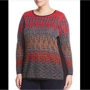 NWT NIC+ZOE Sunset Geometric Print Sweater